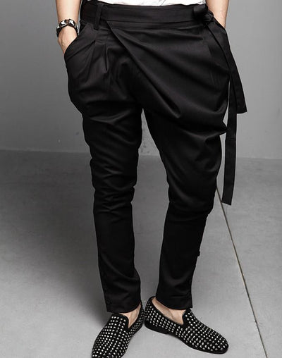 2017 autumn new stereo hanging waist skinny pants crotch tether low harem long pants Metrosexual personality harem pants