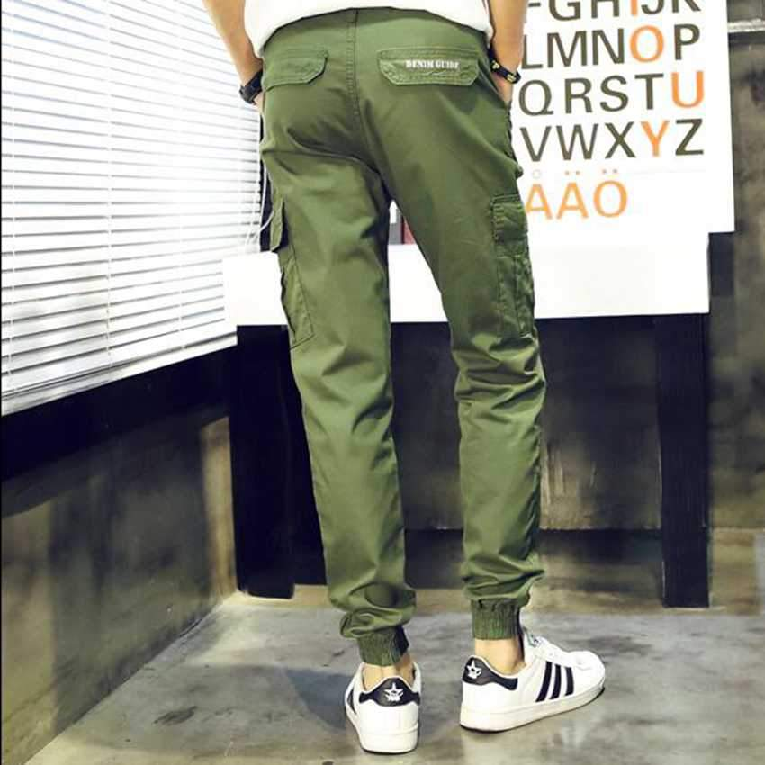 #2811 Mens pants casual fashion Khaki Harajuku Hip hop pants Baggy cargo pants men Large size Joggers men Loose Military pants