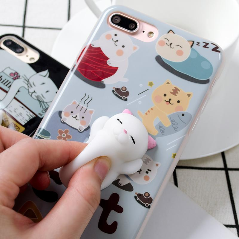 3D Cartoon Cute Soft Silicone Squishy Panda Squishy Cat Fundas Cover Case for iPhone 6 6S 7 Plus Phone Cases Coque