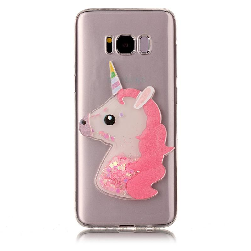 3D Fashion Animal Unicorn Quicksand Liquid Soft Silicone Case For Samsung Galaxy A3 A5 A7 J3 J5 J7 2015 2016 S7 edge Phone Cover