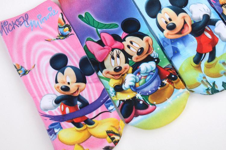 *  4pairs/lot New cotton men and women cartoon novelty socks boy kids  girl Mickey Mouse Minnie 3D printed Brand ankle socks - Dailytechstudios