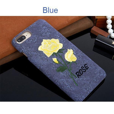 Embroidery Rose Phone Cases for iPhone 6/6s/6 Plus/6s Plus/7/7 Plus/8/8 Plus/Galaxy s8/s8 Plus