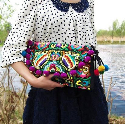 Best Selling Hmong embroidery Women handbags Vintage Fashion Cover Pompon Small bells shouder messenger bags Ethnic  small bags