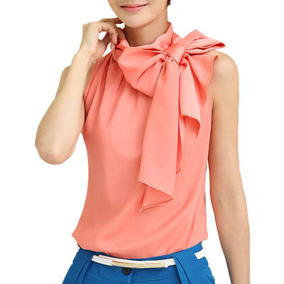 Blouse 2016 Spring Summer New Fashion Women Casual Chiffon Sleeveless Bow-Collar Blouses RD1269 Blouses & Shirts Shop926828 Store- upcube