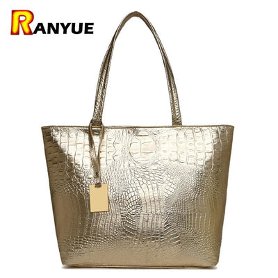 Brand Fashion Casual Women Shoulder Bags Silver Gold Black Crocodile  Handbag PU Leather Female Big Tote f442845e7e1f7