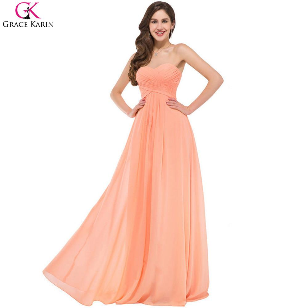 Cheap Bridesmaid Dresses Grace Karin Strapless Chiffon Orange Formal Gowns  Long Wedding Party Dresses Robe Demoiselle f83c24d6bcfb