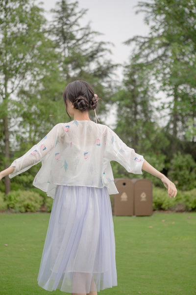 """Crane Mimamori"" Amulet Printed Women's Summer Chiffon Light White Trench Thin Open Stitch Mori Girl Easy-Match - Dailytechstudios"