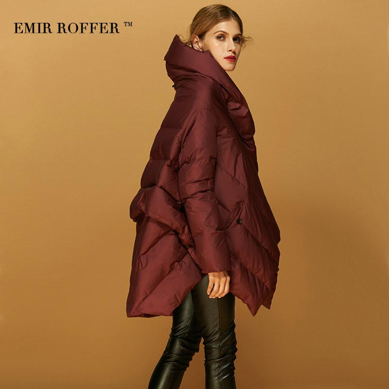 EMIR ROFFER 2017 Fashion Women's Down Jacket Parka Cloaks European Designer Asymmetric Length Hooded Anorak Winter Coat Female