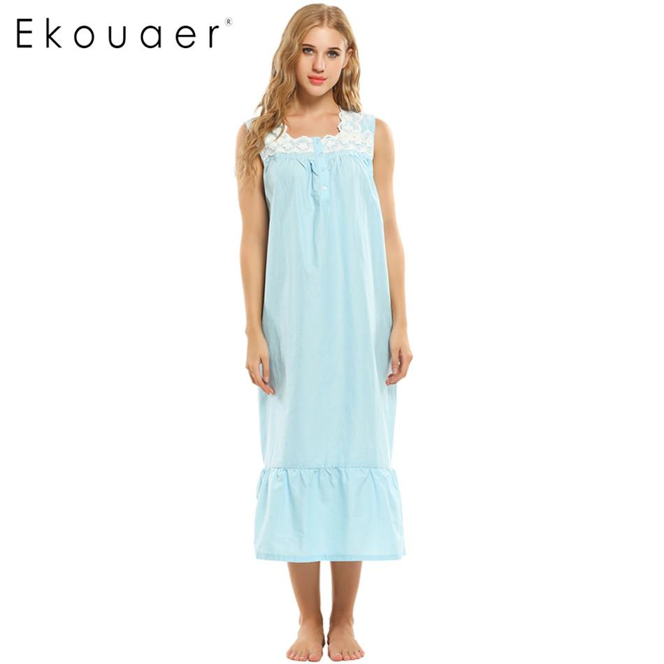 d2d91015f5 Ekouaer Women Nightgown Sleeveless Long Sleepwear White Floral Casual Style Cotton  Nightgown Loose Comfortable Homewear