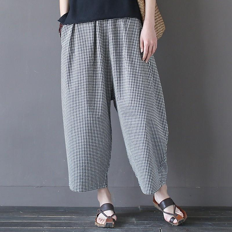 2c926eb18fa7 Elastic waist Cotton Black white Plaid Women Wide leg Pants Plus size Loose  Fashion Summer Pants Brand Casual Cute Trousers A098 Write Review