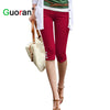 {Guoran}Candy Color Women Leggings High Stretch 2017 Summer Female Slim Pencil Pants Casual Trousers capri pants White black red