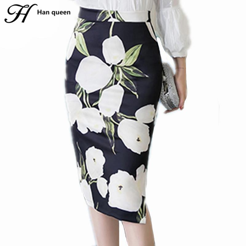 a5a2914f5c440 H Han Queen New Print Women Office Skirt Casual Bodycon Vintage Pencil  Skirts High Waist Split Package Hip Ladies Saia Plus Size Write Review