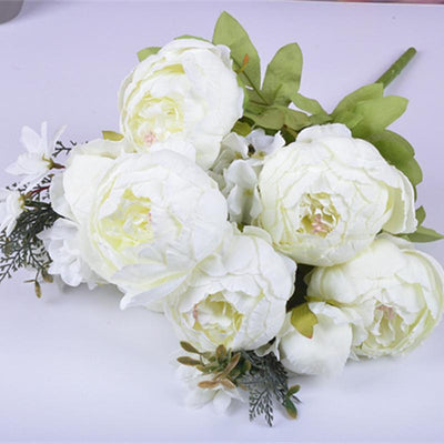 13 Heads European Style Fake Artificial Peony Flowers for Home Hotel Wedding Office Garden Decor