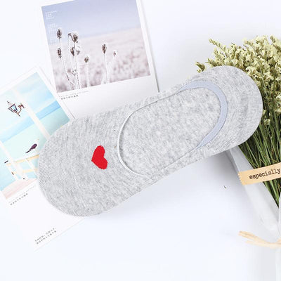1 Pair Spring and summer new socks Ms. Korean non-slip love hidden stealth socks 200-pin cotton socks - Dailytechstudios