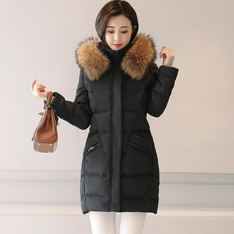 100% Natural Raccoon Fur Collar 2017 Winter Jacket Women White Duck Down Coats Long Thick Parkas Womens Winter Jackets And Coats