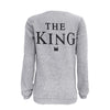 1 PC King & Queen Couple Letter Print Couples T-Shirt Tops B Shirts Couple Sweater Light Gray - Dailytechstudios