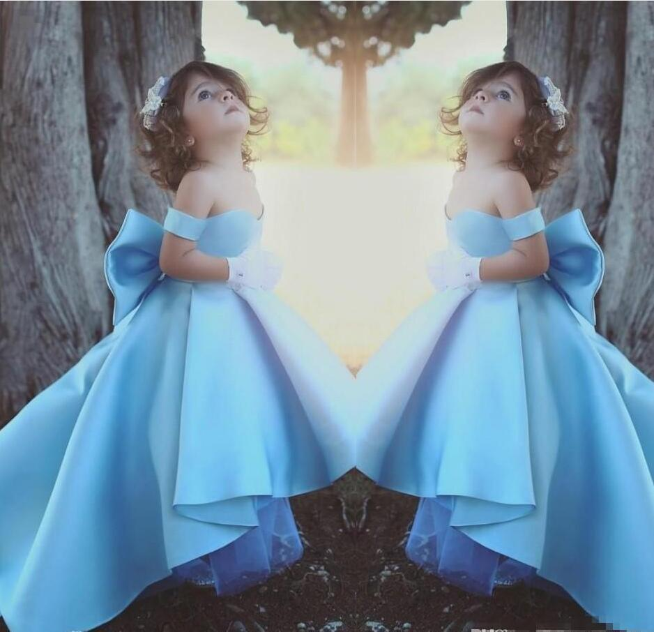 2018 Cute High Low Flower Girl Dresses Sky Blue Off Shoulder Pageant ...