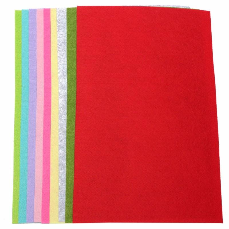 10 Colors/set DIY Non Woven Felt Fabric Sheets Fiber Thick Kids DIY Craft Assorted Fabric Square Embroidery Scrapbooking Craft