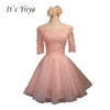 It's YiiYa 2017 Pink Red Gray Boat Neck Half Sleeves A-line Cocktail Dresses Lace Tulle Lace up Simple Short Formal Dress BF003