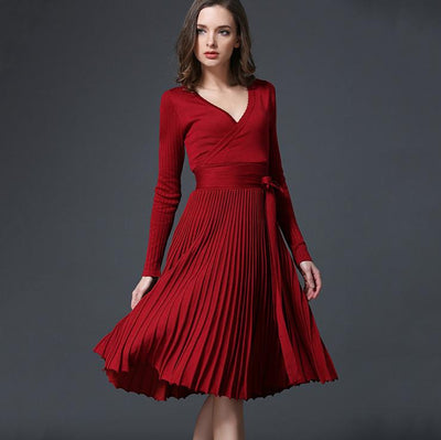 2017 Autumn New Sexy Long-sleeved V-neck Dress Women Knee-Length Elegant Bow Waist Fold Pleated Knit Office Dress Party Vestido