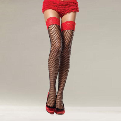 1Pair New Sexy Solid Color Lady Women Fishnet Lace Spandex Top Mesh Thigh High Stockings Knee Socks Long Tights Medias