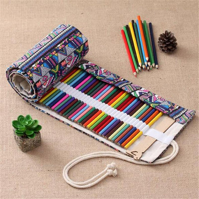 1Pcs Pencil Bag Hot New Holder Canvas Pen Case 36/48/72 Holes Wrap Pouch Roll Up Pop Storage  UpCube- upcube