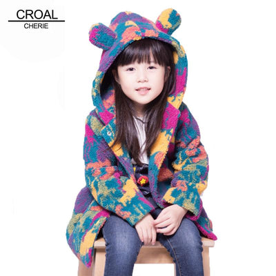 100-160cm Kids Warm Velvet Fleece Girls Winter Coat Colorful Children's Winter Jacket For Teenage Girls Boy Cute Ear Windbreaker