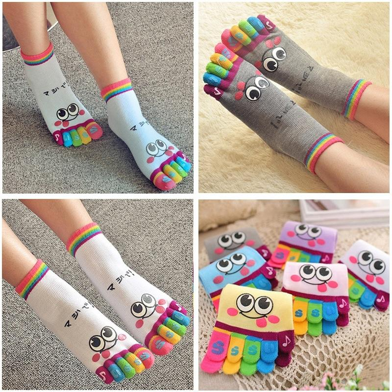 1 pair Hot Female Cute Casual Five Toe Crew Finger Performance Original Weight Micro Toe Socks Cotton Socks For Women - Dailytechstudios