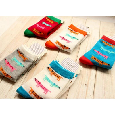 (5 pairs/lot ) Newest design woman cartoon Socks College Students Socks four seasons cotton Socks Multicolor sausage dog - Dailytechstudios