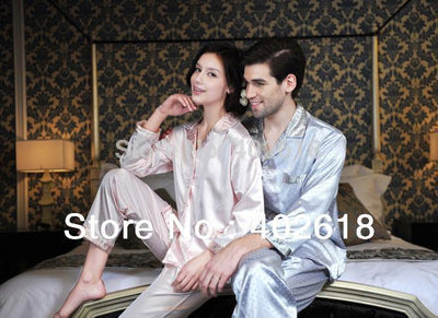 (1 Set/Lot) New Fashion, Men silk pajamas, Women sleepwear, Silk sleepwear, Size L, XL, XXL, Long-sleeve nightdress - Dailytechstudios