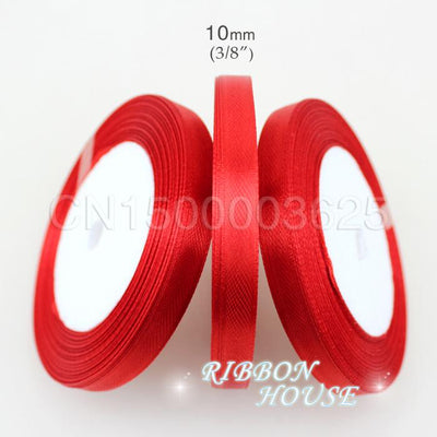 "(25 yards/roll) 3/8"" 10mm Red Single Face Satin Ribbon Webbing Decoration Gift Christmas Ribbons wholesale - Dailytechstudios"