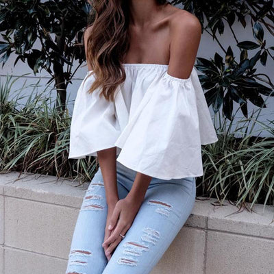New Summer Sexy Off Shoulder Women White Tops Casual Ruffles Half Sleeve Red Black Crop Top Blusas Loose Beach Girls Tee Shirt