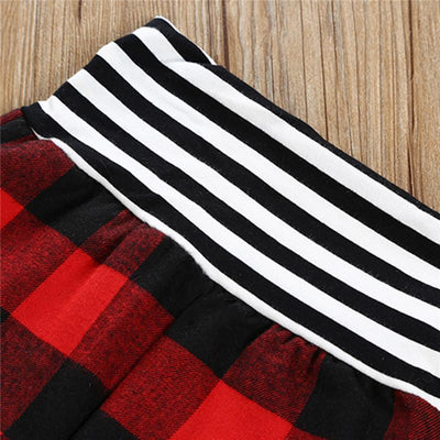2017 Autumn Newborn Baby Boy Girl Clothing Long Sleeve Hooded T-shirt Tops+Red Plaid Pant Trouser 2PCS Infant Kids Clothes Set