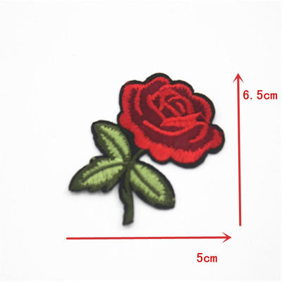 1 Pcs Top Patches Iron-on Sew-on Red Rose Flower Embroidery Patch Motif Applique Children Women DIY Clothes Sticker Wedding - Dailytechstudios