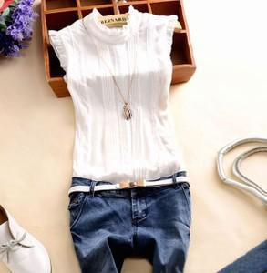 2015 New Fashion Women Summer Chiffon Shirts Tops Short Sleeve Collar Lace Pleated Casual Shirts Blouse