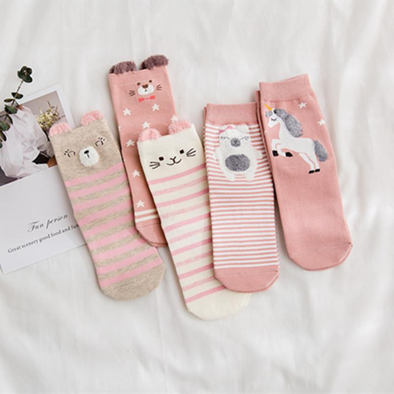 10 pcs=5pairs/lot Women Socks High Quality Pink Cute Cartoon Animal Bear Horse Cotton Socks Winter Autumn Funny Art Socks Meias