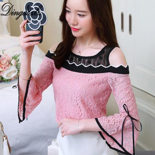 930d7fafc7e Dingaozlz Mesh stitching Lace tops korean 2018 new fashion bow tie Hollow  out lace shirt casual