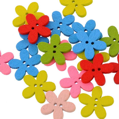 100PCs NEW Wholesale Natural Wooden Colorful Mixed Flowers Buttons Scrapbooking Sewing Accessories For DIY Craft 2 Holes 14x15mm  UpCube- upcube
