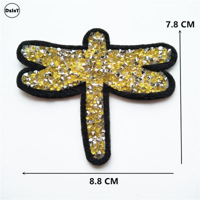 1 Pcs Butterfly Animals Sequins Rhinestone Clothes Embroidered Iron on Patches for Clothing DIY Stripes Motif parches @RR - Dailytechstudios