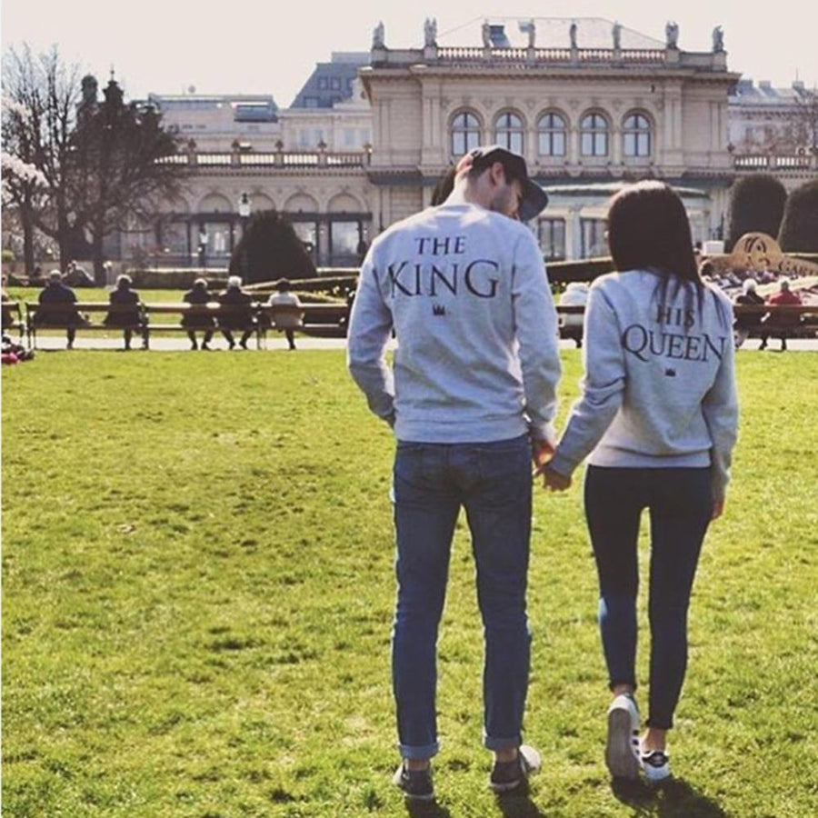 1 PC King & Queen Couple Letter Print Couples T-Shirt Tops B Shirts Couple Sweater Light Gray