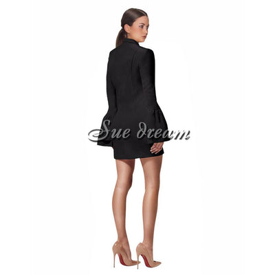 2017 Autumn new women long flare sleeve v neck dress sexy bodycon buttons celebrity party elegant white black dresses vestido