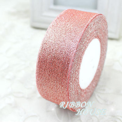 (25 yards/roll) 40mm Pink Meat Metallic Glitter Ribbon Colorful gift package ribbons wholesale - Dailytechstudios