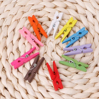 100Pcs Mini Wooden Craft Pegs 30mm Art Wedding Hanging Photo Clips Clothes Pins  UpCube- upcube