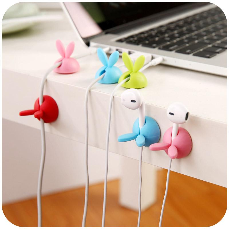 12pcs / lot cute Rabbit ear wire holder flexible TPR plastic desktop USB data cable holder Avoid Winding Multi-color  UpCube- upcube