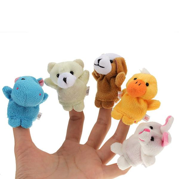 1 Set of 10 Zoo Farm Animal Finger Puppets Plush Cloth Toys for Bed Story Telling - Dailytechstudios