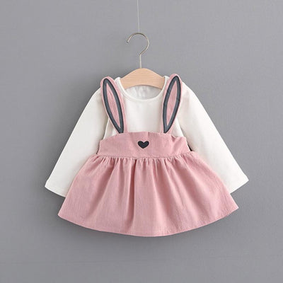 0-3 Years Old spring Autumn Rabbit Bandage Suit Mini Dress for baby girls Cute Rabbit long sleeve dress Kids Toddler Girl - Dailytechstudios
