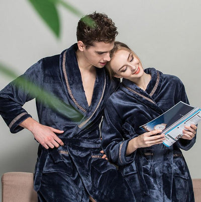 (1PCS/Lot) Bathrobe men robes Fleece women's Size M L XL Microfiber bathrobe solid colors Super soft & nice - Dailytechstudios
