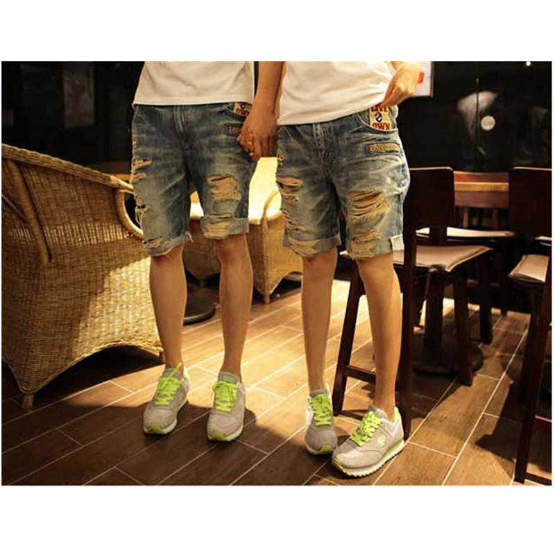 Summer lovers jeans casual holes denim capris embroidery roll up hem shorts male and female Free shipping