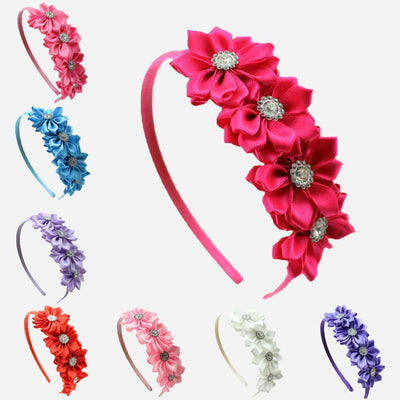 1 pcs Satin Ribbon Flower rhinestone baby girl hair flower band Korean style princess headband children hair accessories - Dailytechstudios