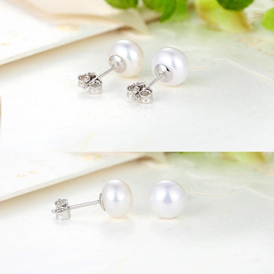 100% Real Freshwater Pearl and 100% Real Silver 925 Pearl Earrings 8mm pearl free shipping  dailytechstudios- upcube